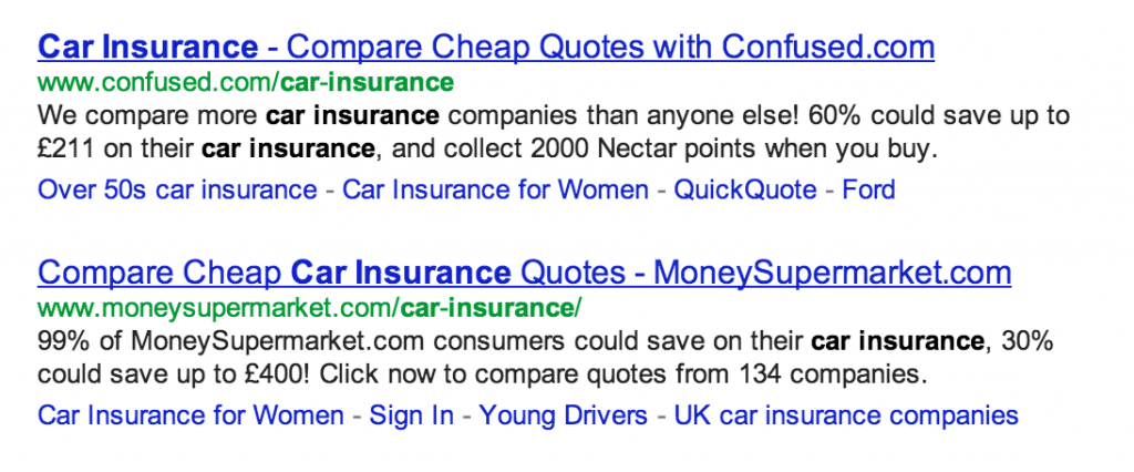 Google UK search results for 'Car Insurance' (22/02/2013)